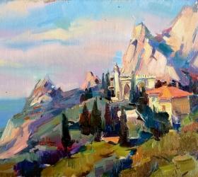 Вилла Мечта на фоне горы Кошка, работа А. Калюжной